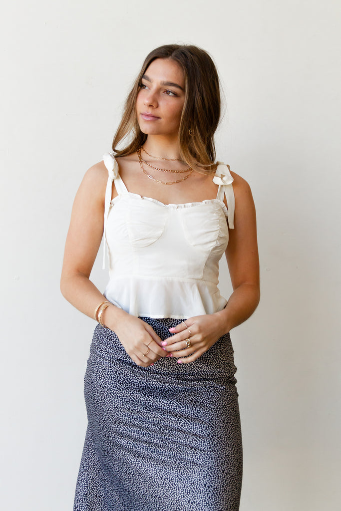 white self tie crop top