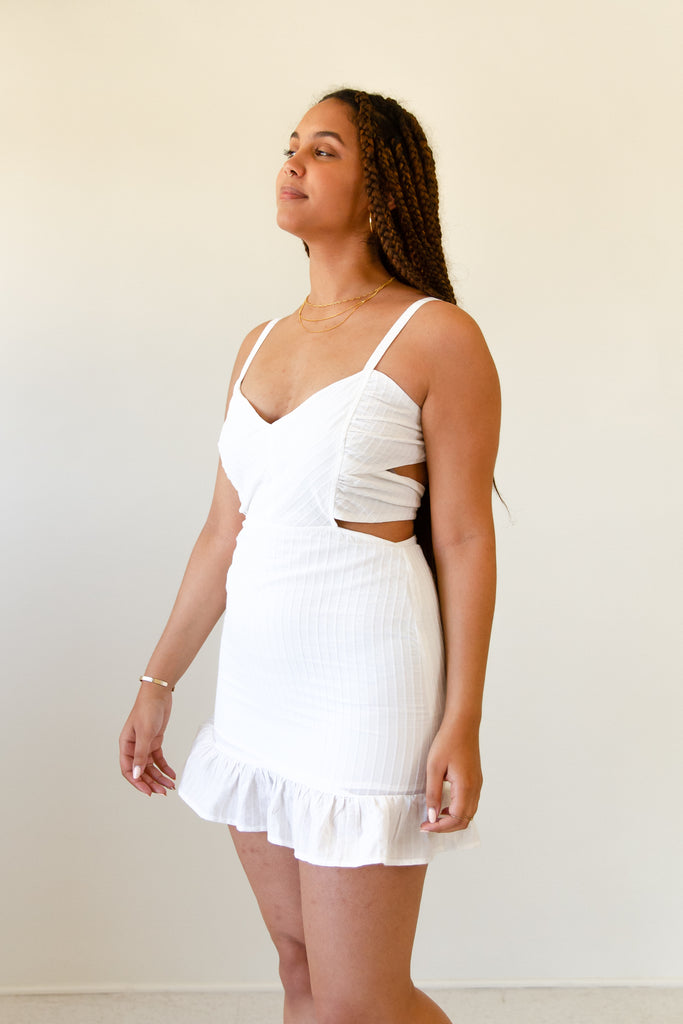 white cami dress with side cutouts & back ties