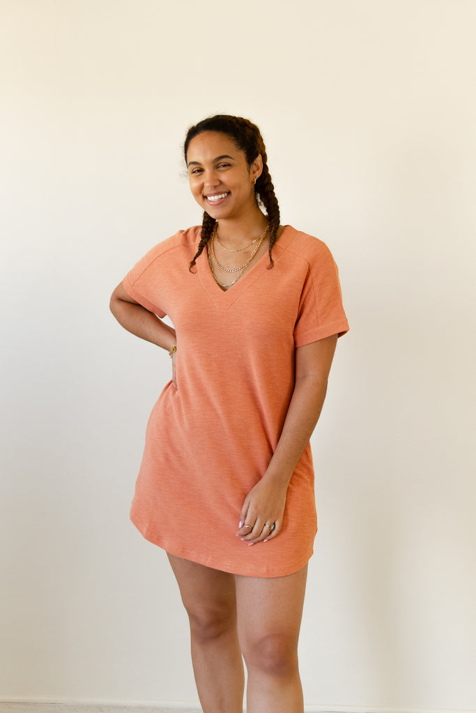 salmon t-shirt dress