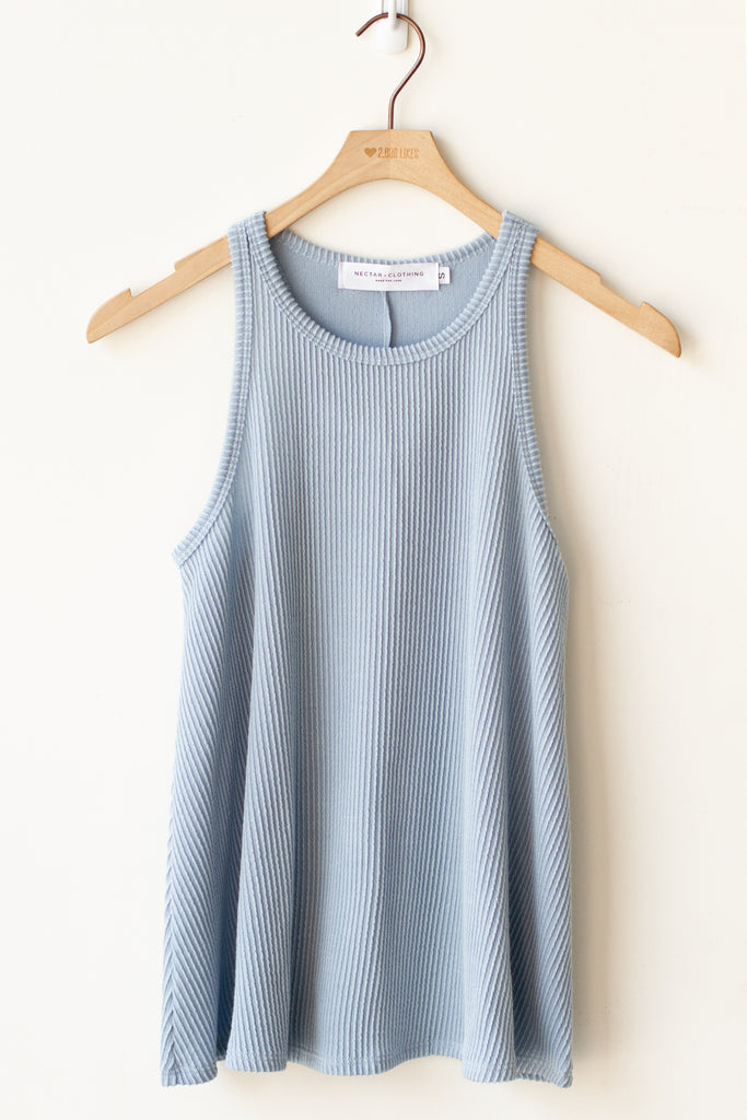 blue ribbed tank top