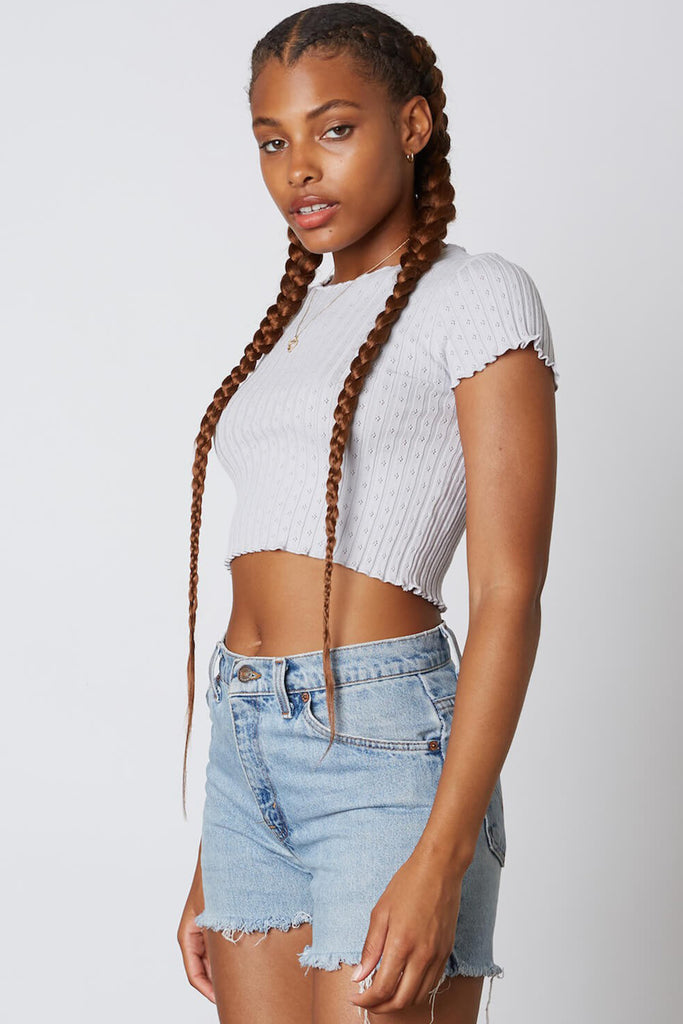 blue ruffled hem crop top