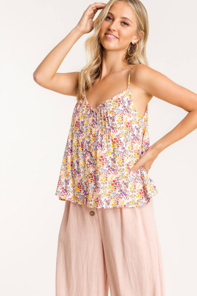 Floral Frustration Button Cami Top