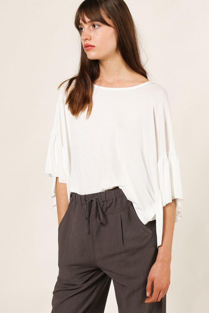 No Way Out Ruffle Sleeve Top by For Good
