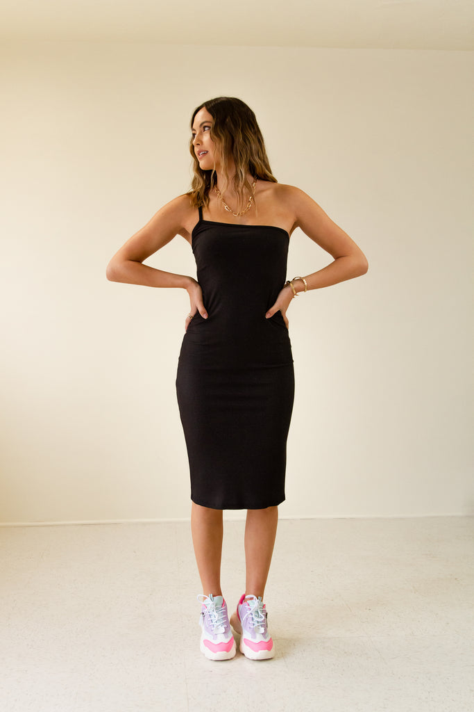 black ribbed cami strap one shoulder bodycon dress