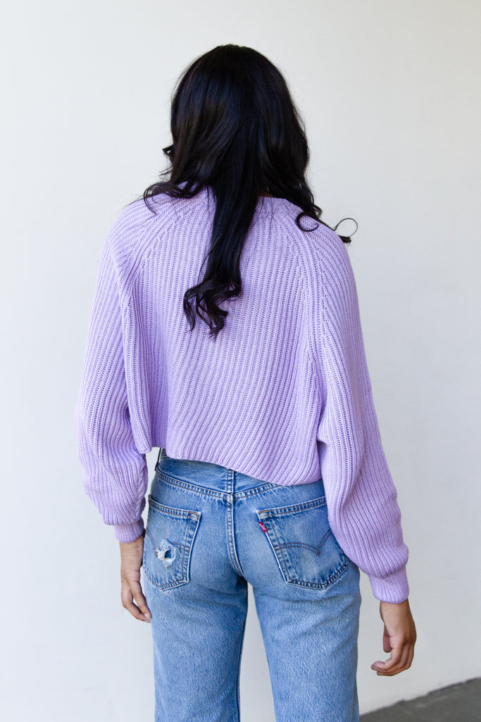 lavender ribbed sweater