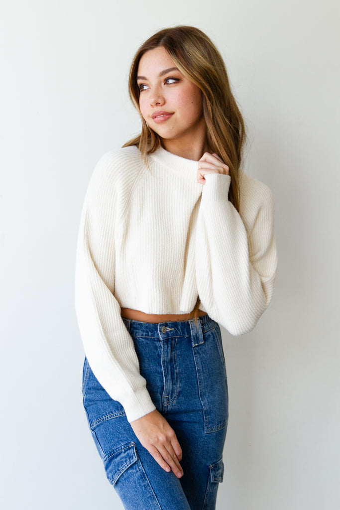 Here Tonight Knit Cropped Sweater