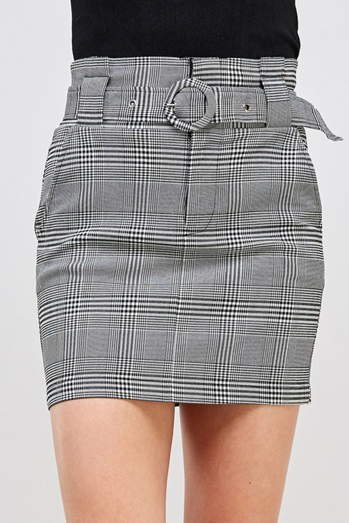 plaid mid thigh skirt