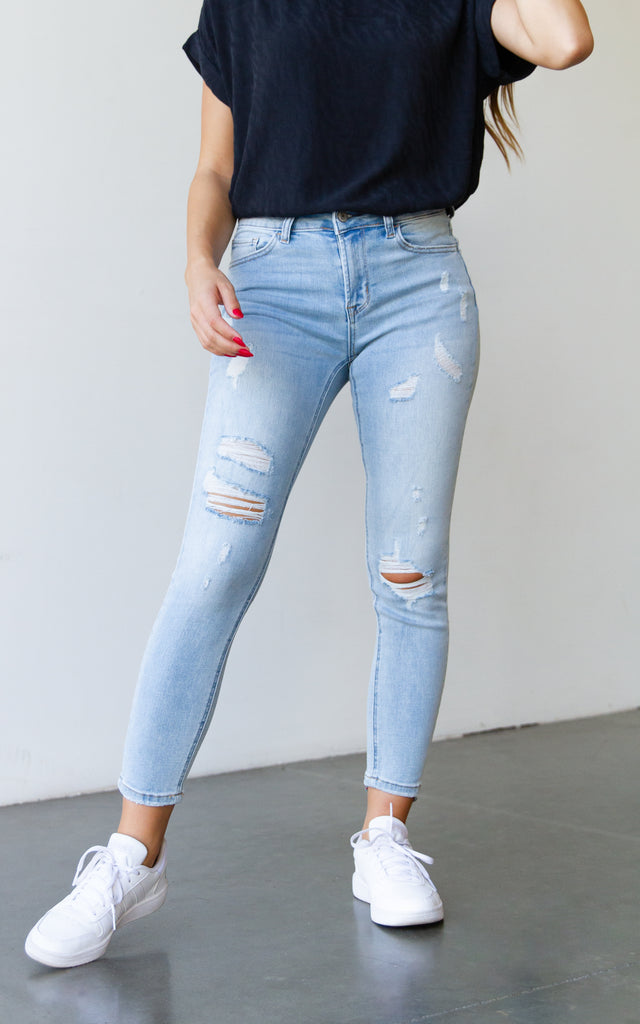 The Rockie Mid Rise Distressed Cropped Skinny Jeans