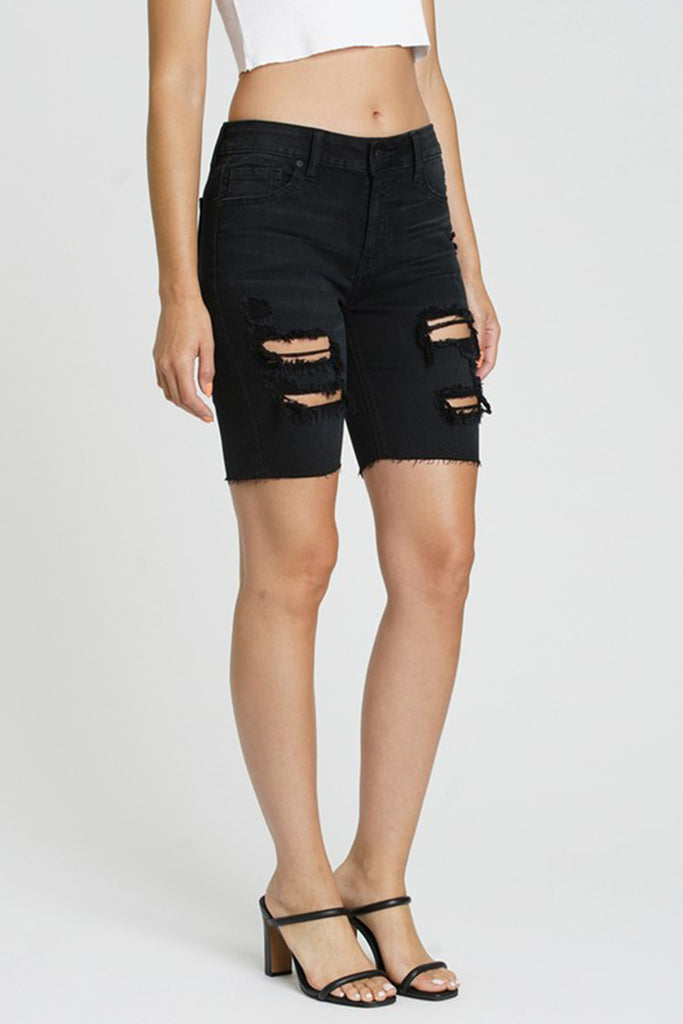 Put Your Hand In Mine Mid Thigh Denim Shorts
