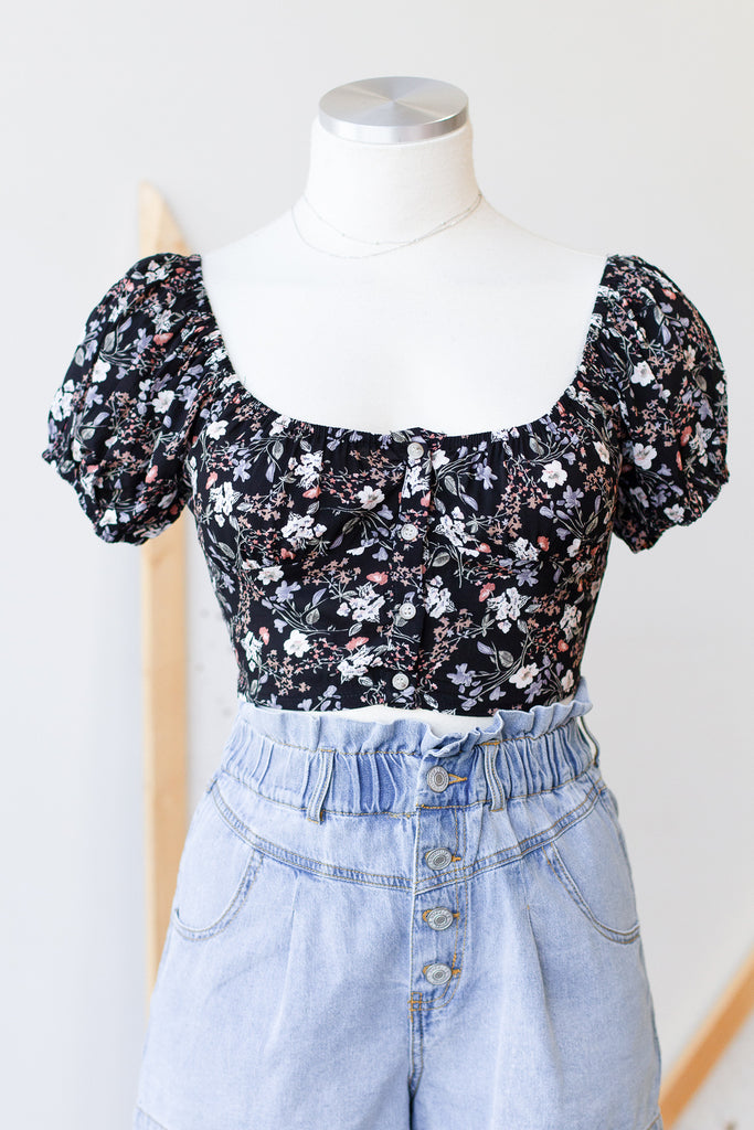 In Love Again Floral Crop Top