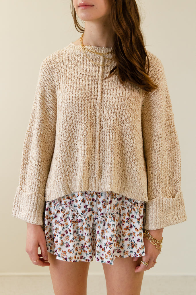 natural outside seam knit sweater