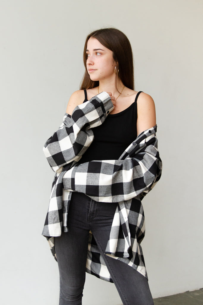 black plaid flannel