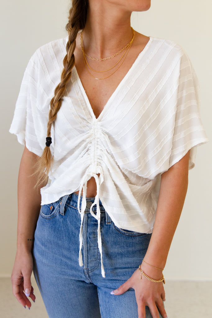 white striped ruched drawstring short sleeve top