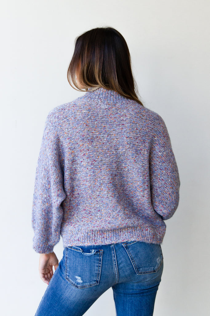 blue mock neck knit sweater