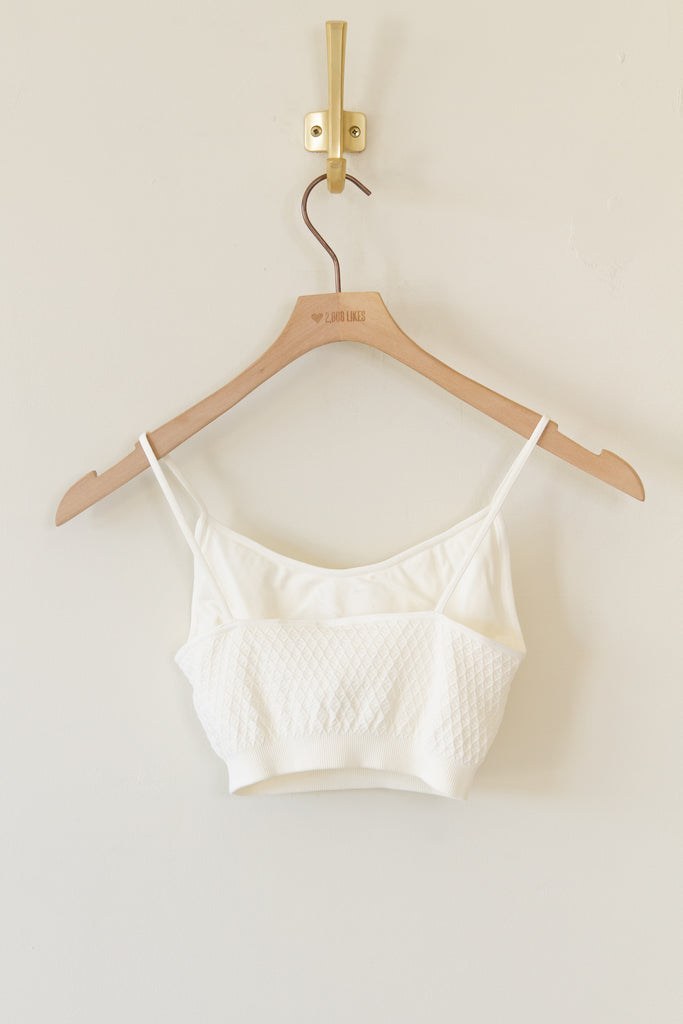 cream ribbed stretchy bralette with cami straps