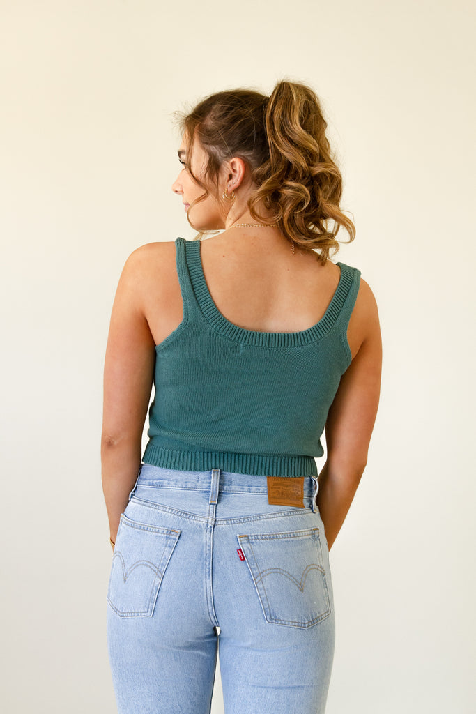 teal knit tank top