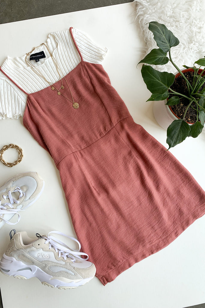 mauve cami dress
