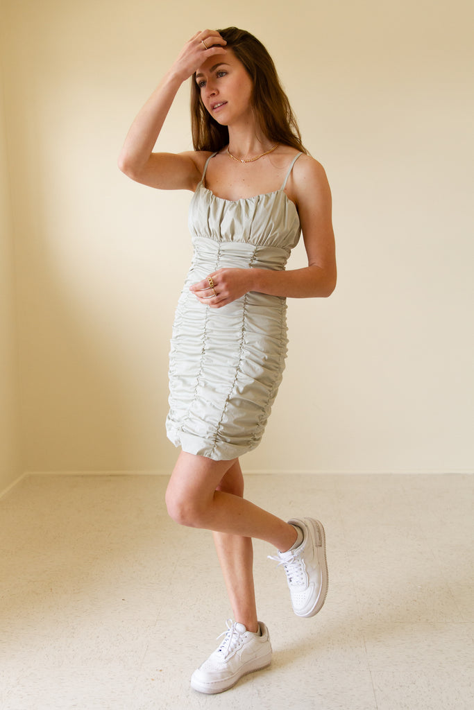 sage cinched cami dress'