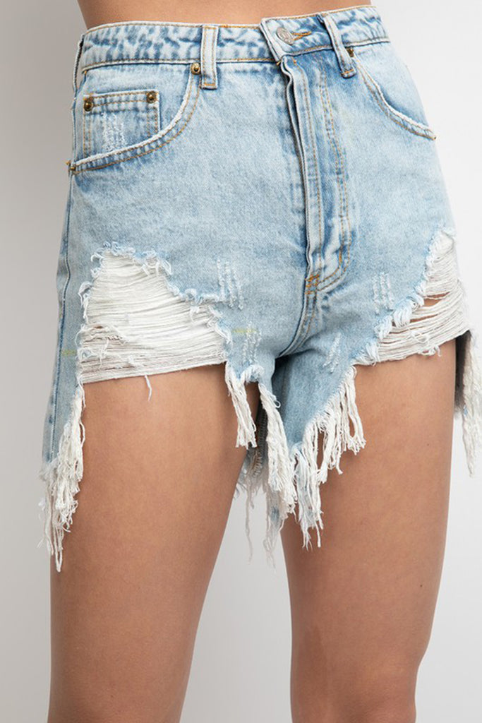 Move For Me Light Wash High Rise Destroyed Denim Shorts