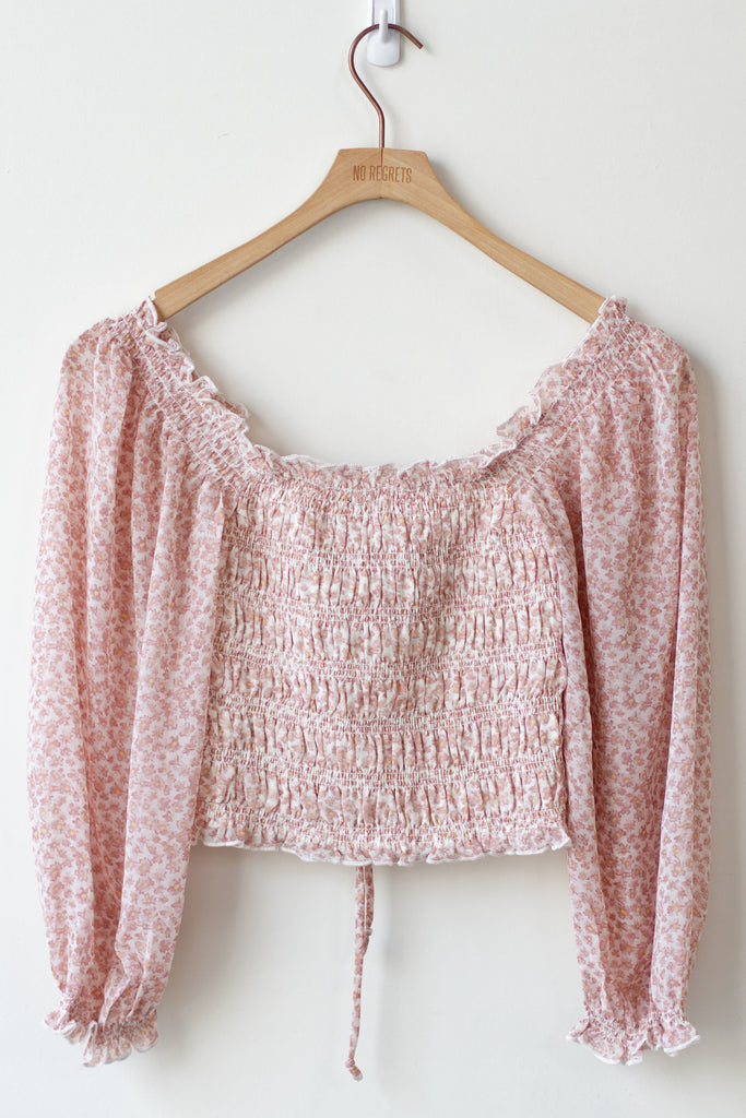 pink floral cinched crop top