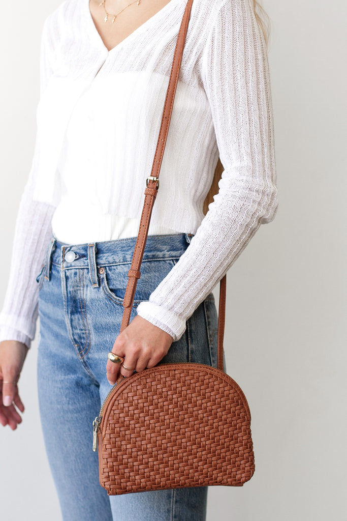Brown Woven Faux Leather Purse