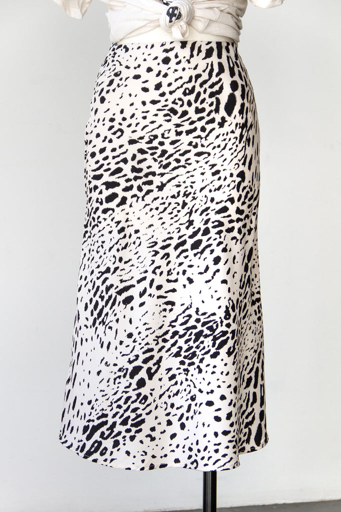 black/white animal print midi skirt