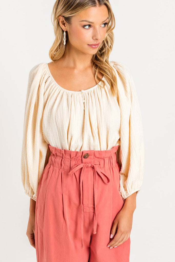 Cream Mid Sleeve Top