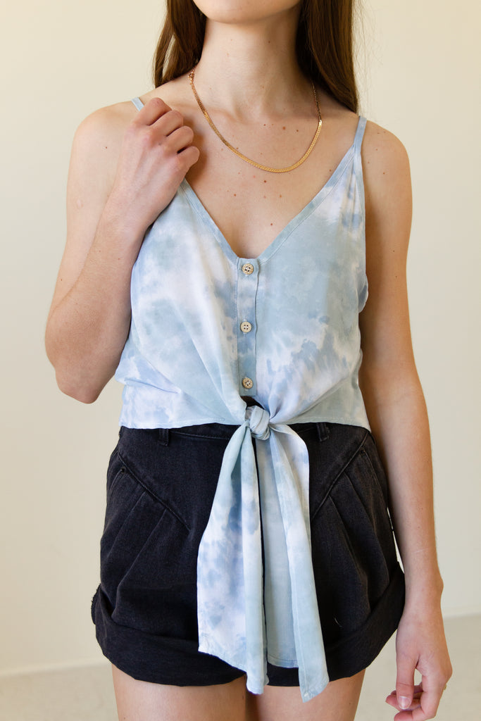 blue & white tie dye cami crop top