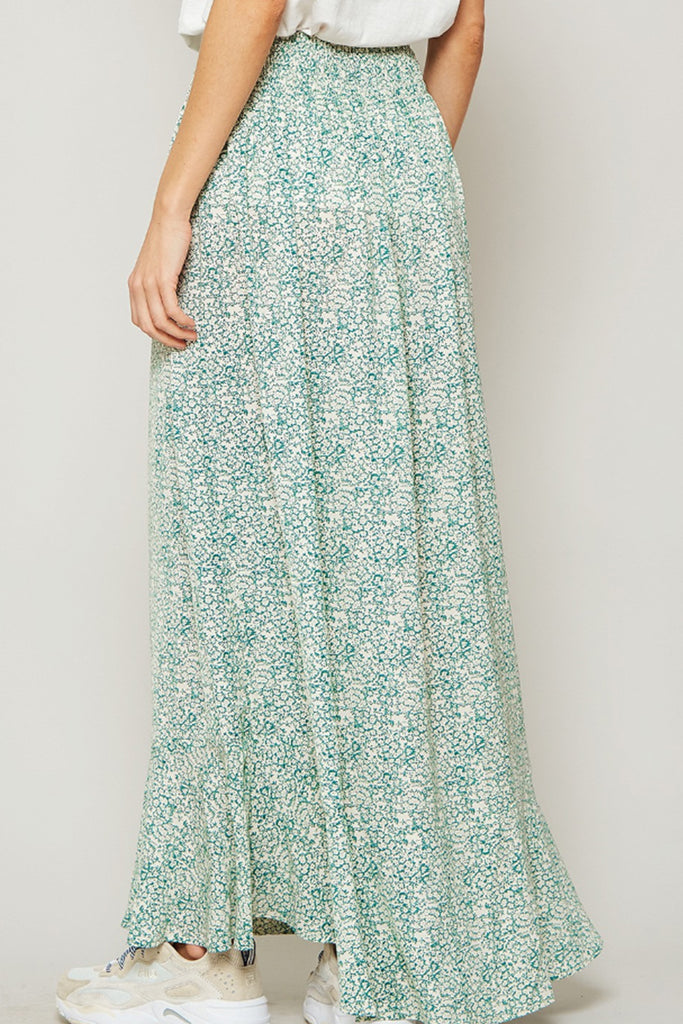 Solid Ground Floral Maxi Skirt