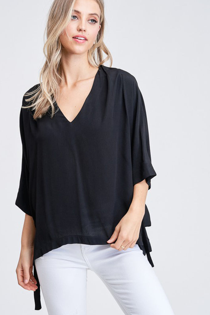 black mid sleeve top