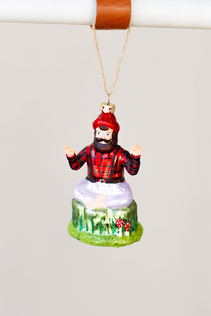 yoga lumberjack ornament