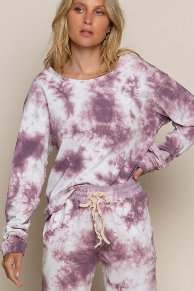 purple tie dye sweater
