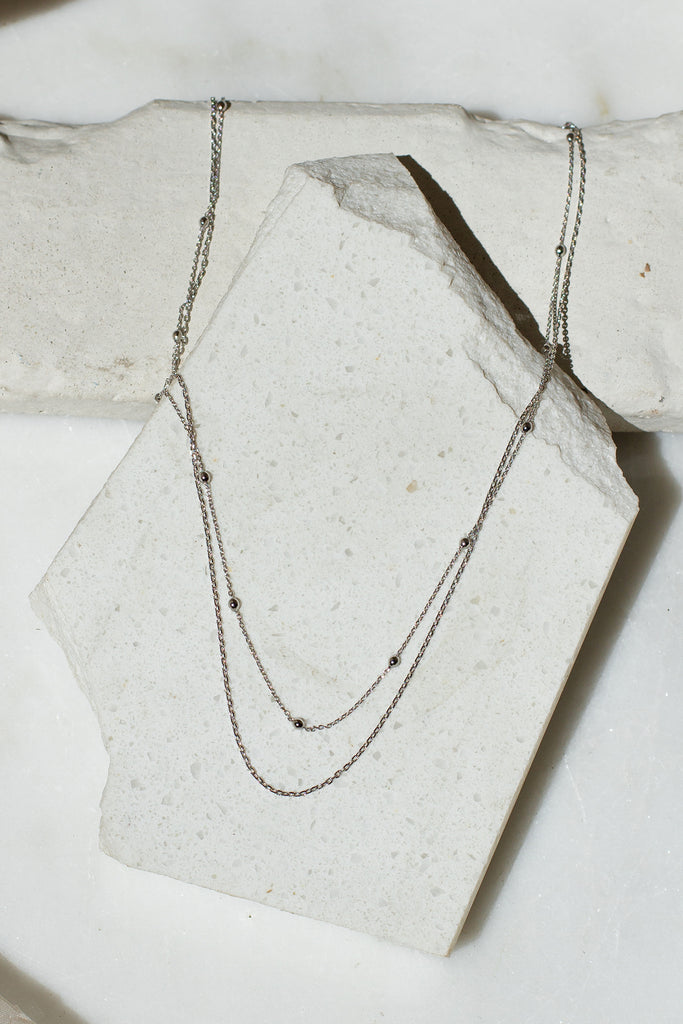 Silver Double Layer Dainty Necklace