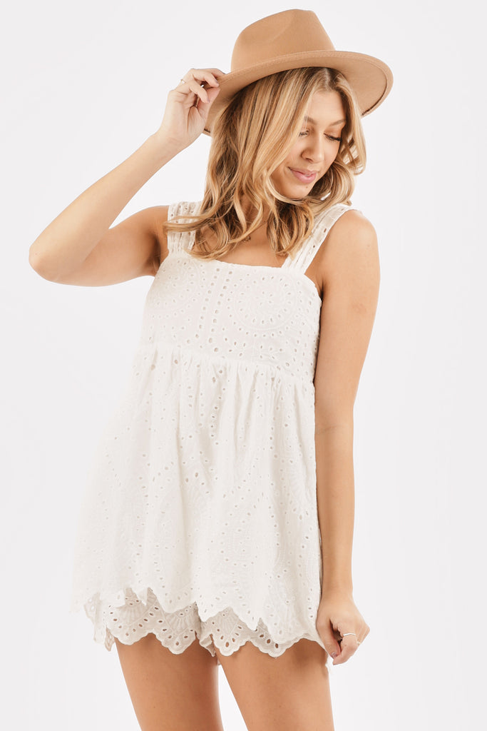 Natural Love Eyelet Romper