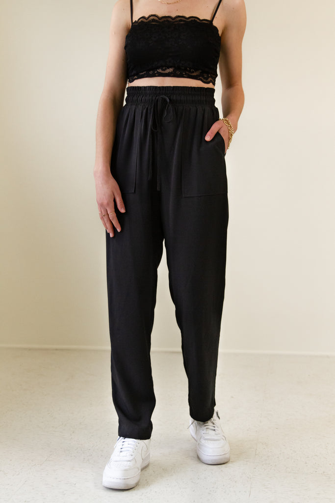 black high waisted paper bag pants