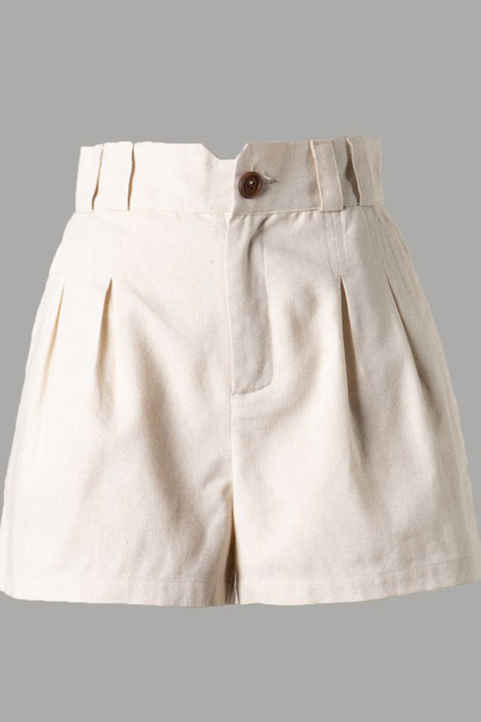 Natural  Pleated Shorts