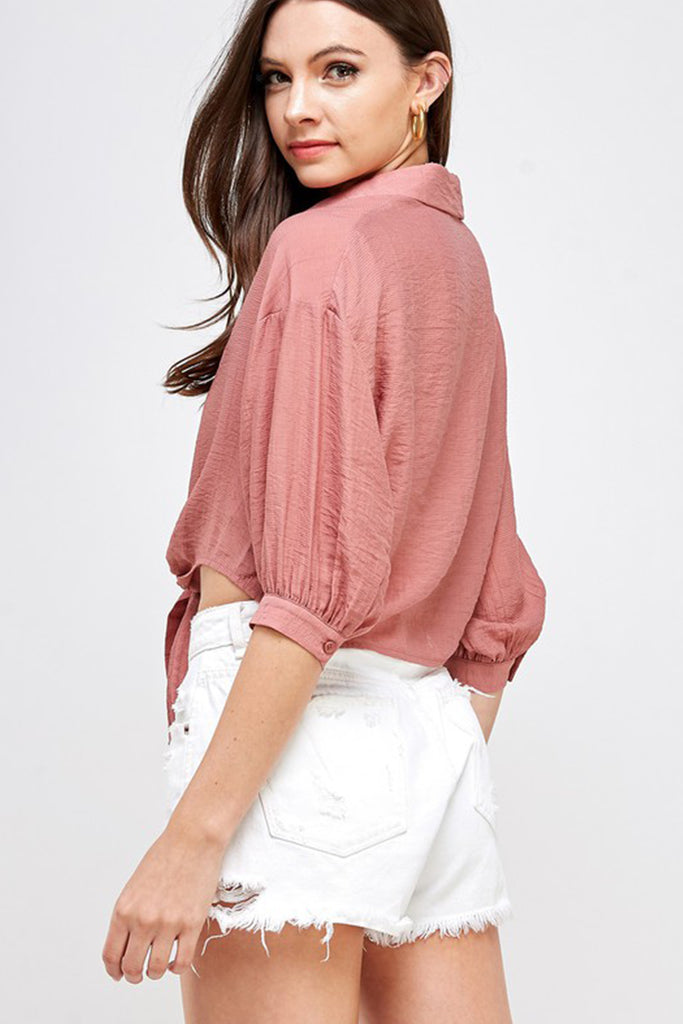 rose button top
