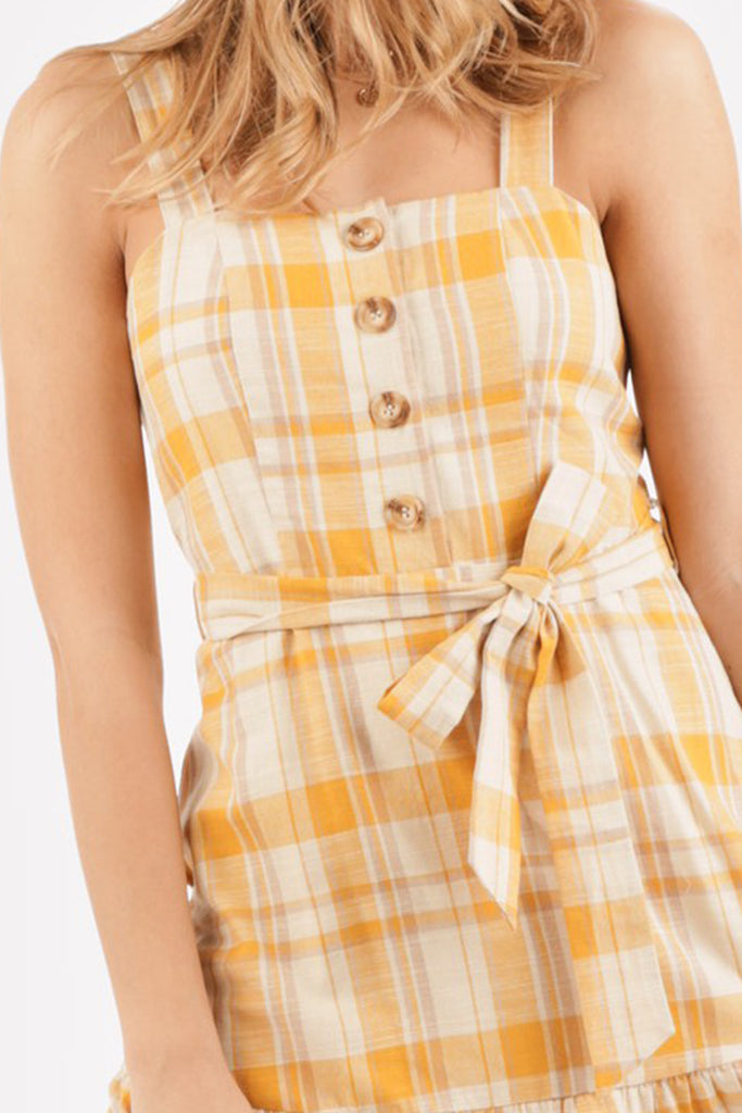 yellow plaid midi dress