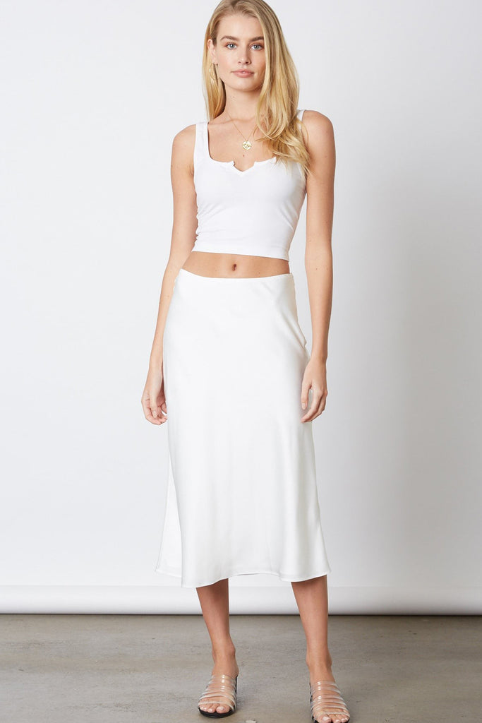 white satin skirt