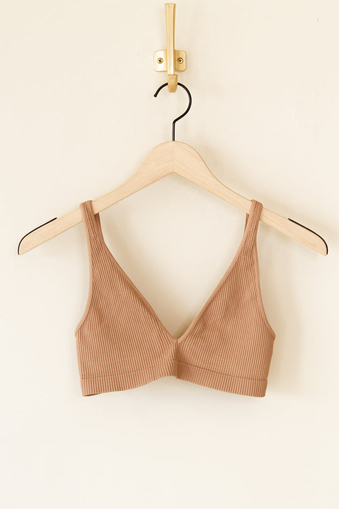 brown ribbed sports bra