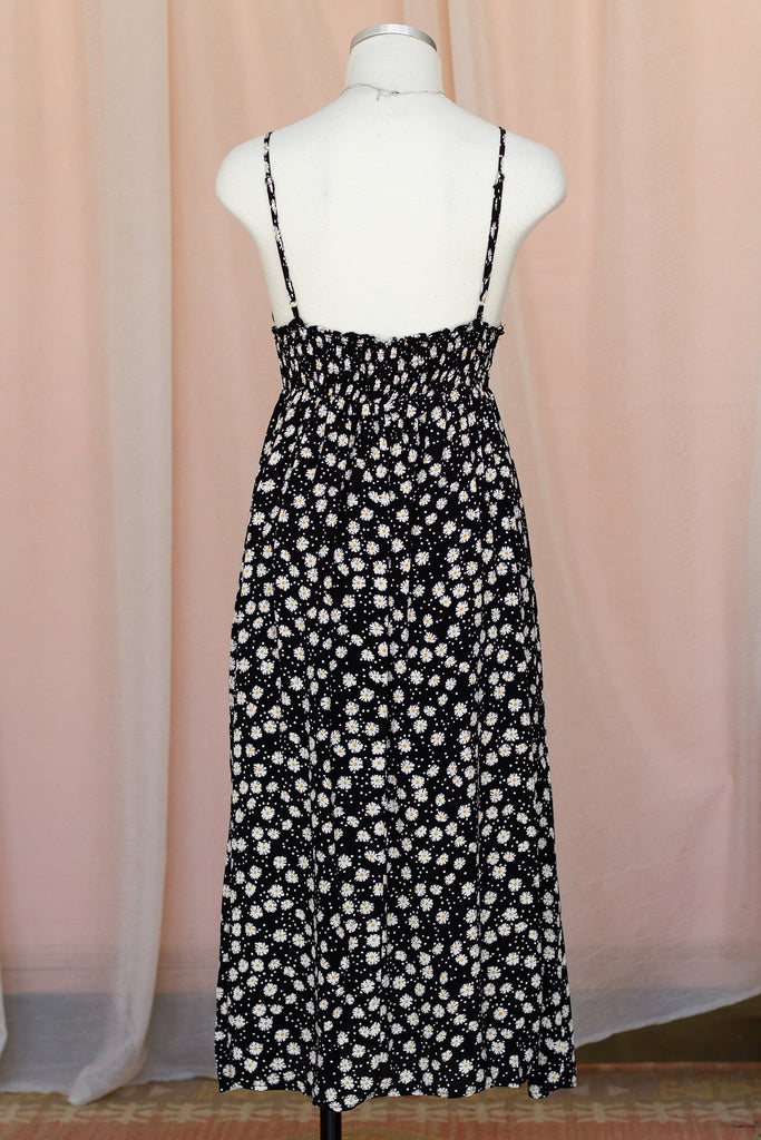 Black/White Floral Midi Dress