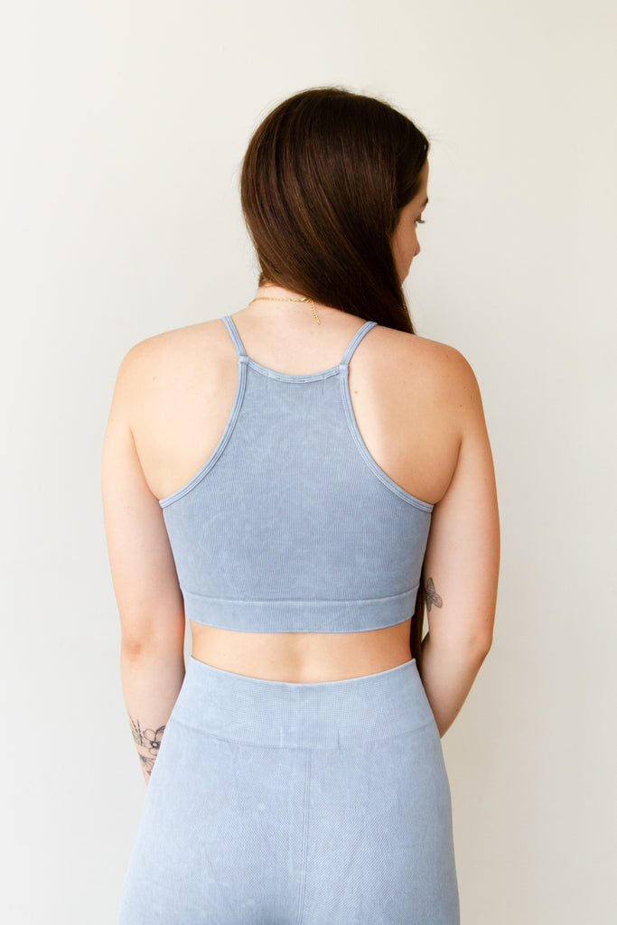 baby blue halter sports bra