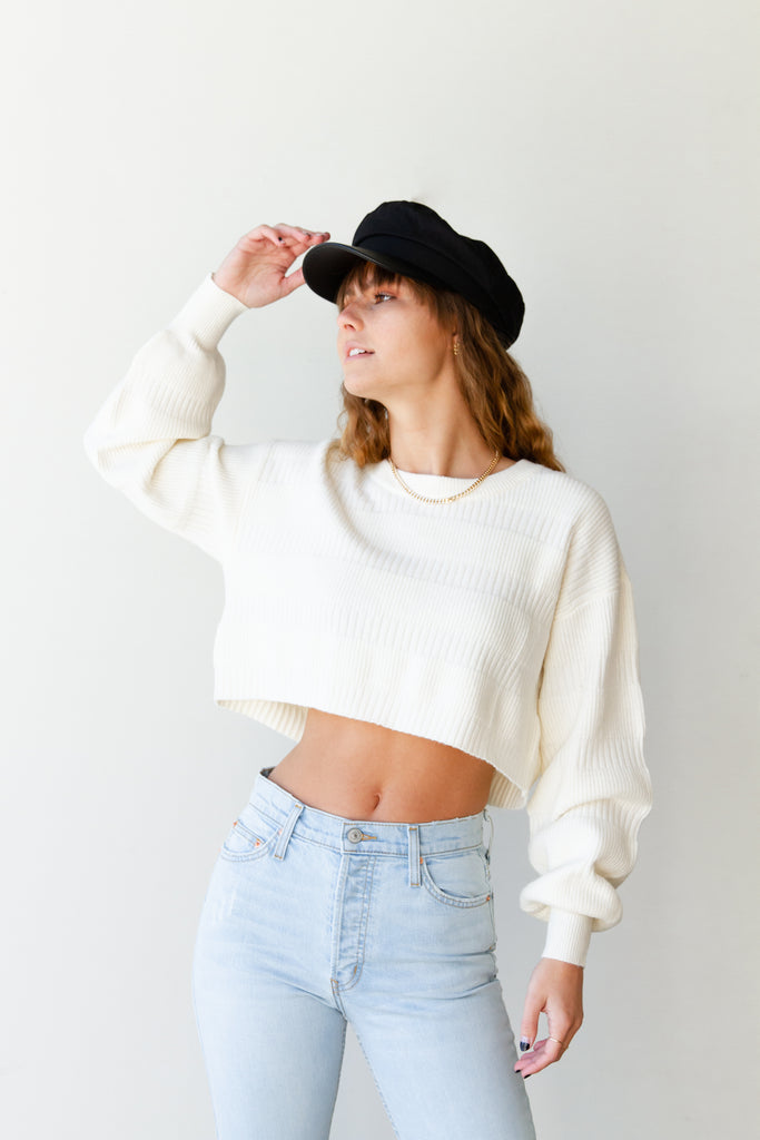 No Time Cropped Knit Sweater