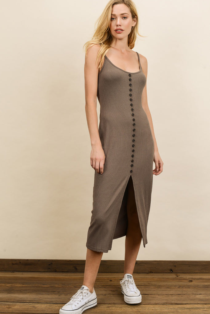 brown front slit midi dress