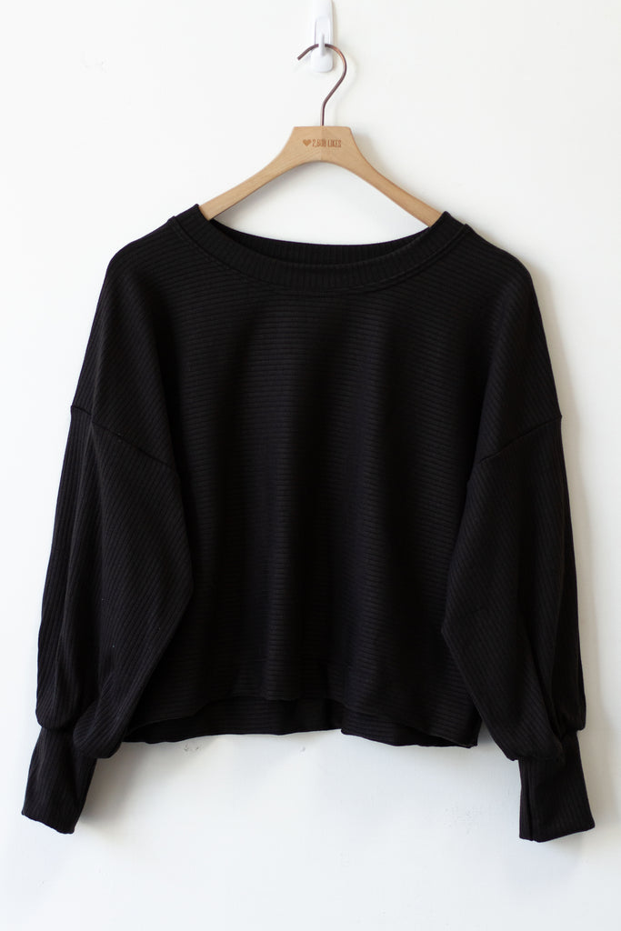 black pullover ribbed sweater
