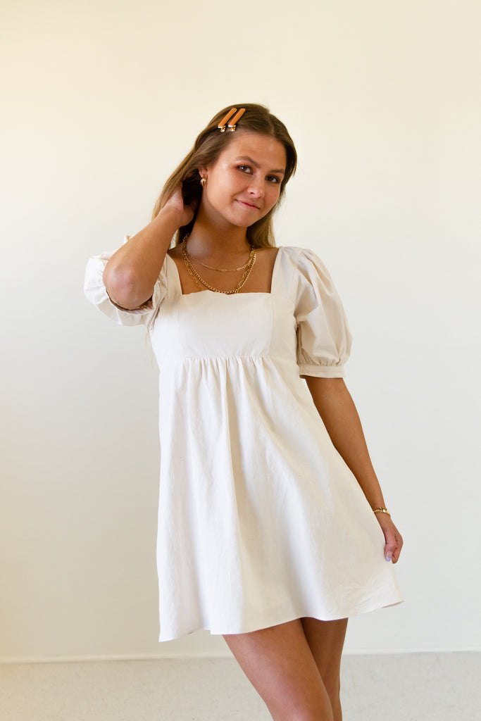 cream puff sleeve babydoll above the knee dress