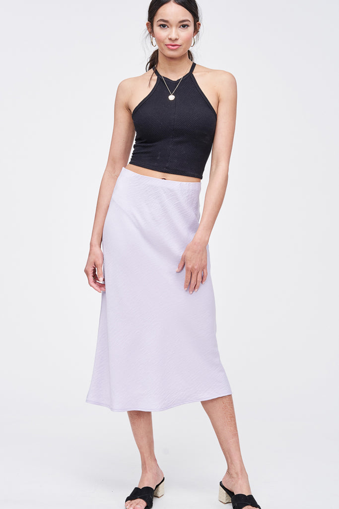 Lavender Satin Midi Skirt