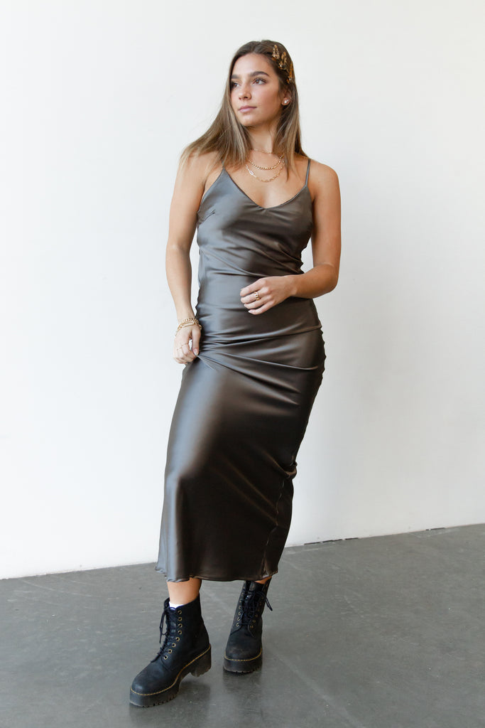 Romance Satin Maxi Dress By For Good