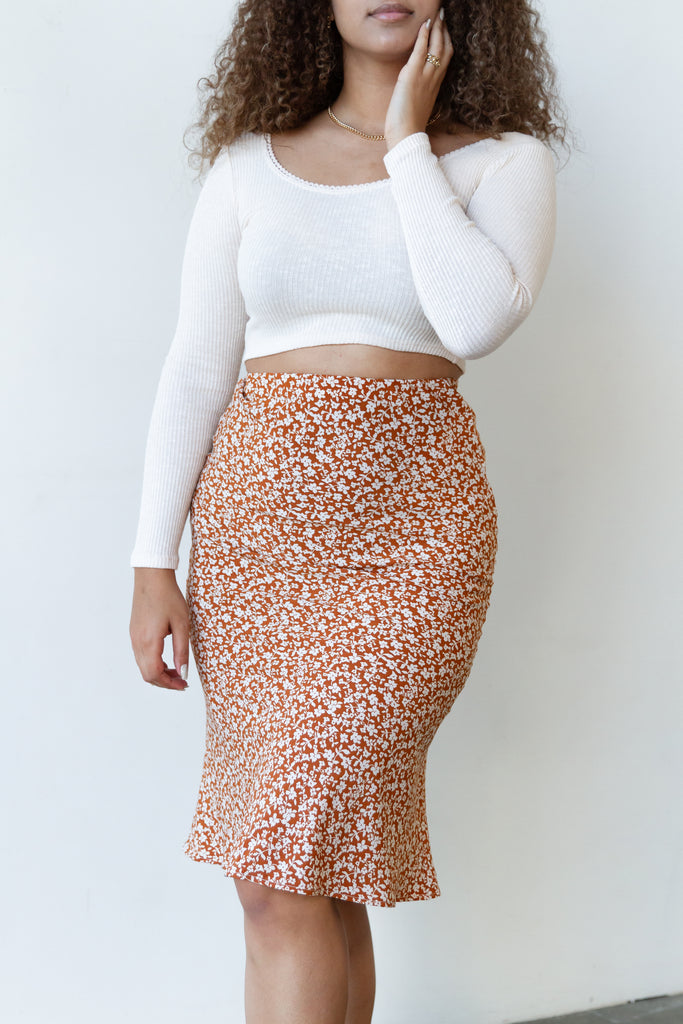 No Guidance Floral Midi Skirt