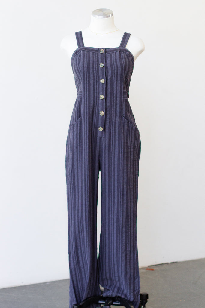 Pull Me In Striped Jumpsuit